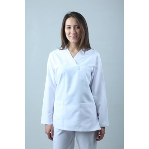 Uzun Kollu V Yaka Hemşire Forması Nöbet Takımı Üst Beyaz Alt Lacivert