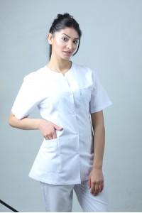 W Yaka Ceket Boy Hemşire Forması Önlük ve Pantolon Takım
