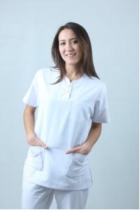 Oval Yaka Çıtçıtlı Cerrahi Kesim Hemşire Forması Nöbet Takımı