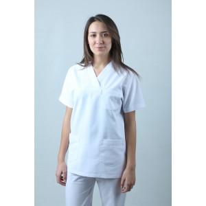 V Yaka Cerrahi Kesim Hemşire Forması Tek Üst Beyaz