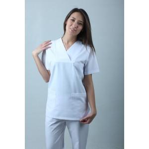 Zarf Yaka Cerrahi Kesim Hemşire Forması Nöbet Takımı Beyaz
