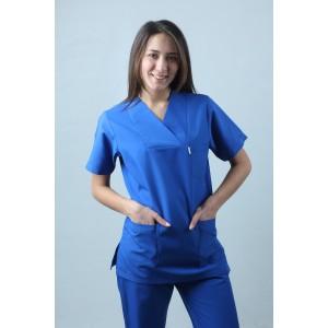 Zarf Yaka Cerrahi Kesim Hemşire Forması Tek Üst Saks Mavisi