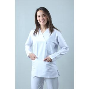 Uzun Kollu Zarf Yaka Hemşire Forması Nöbet Takımı Beyaz