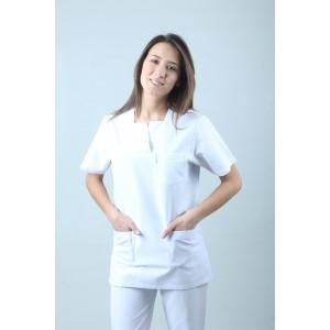W Yaka Cerrahi Kesim Hemşire Forması Tek Üst Beyaz
