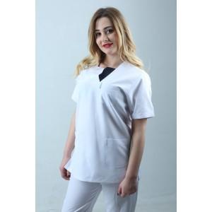 W Yaka Cift Renk Hemşire Forması Nöbet Takımı Beyaz Lacivert