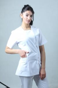 Kare Yaka Ceket Boy Hemşire Forması Önlük ve Pantolon Takım