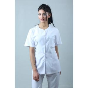 Beşgen Yaka Ceket Boy Hemşire Forması Önlük ve Pantolon Takım Beyaz