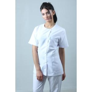 Yandan Çıtçıtlı Ceket Boy Hemşire Forması Önlük Tek Üst Beyaz